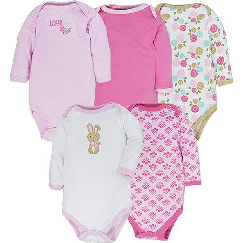 【hella 媽咪寶貝】美國 luvable friends 嬰幼兒長袖包屁衣5件組 可愛碎花小兔衣 (38060)