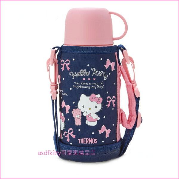 asdfkitty可愛家☆KITTY深藍泰迪熊2用不鏽鋼保溫保冷水壺-附背袋保溫瓶-幼兒園好用-日本正版商品