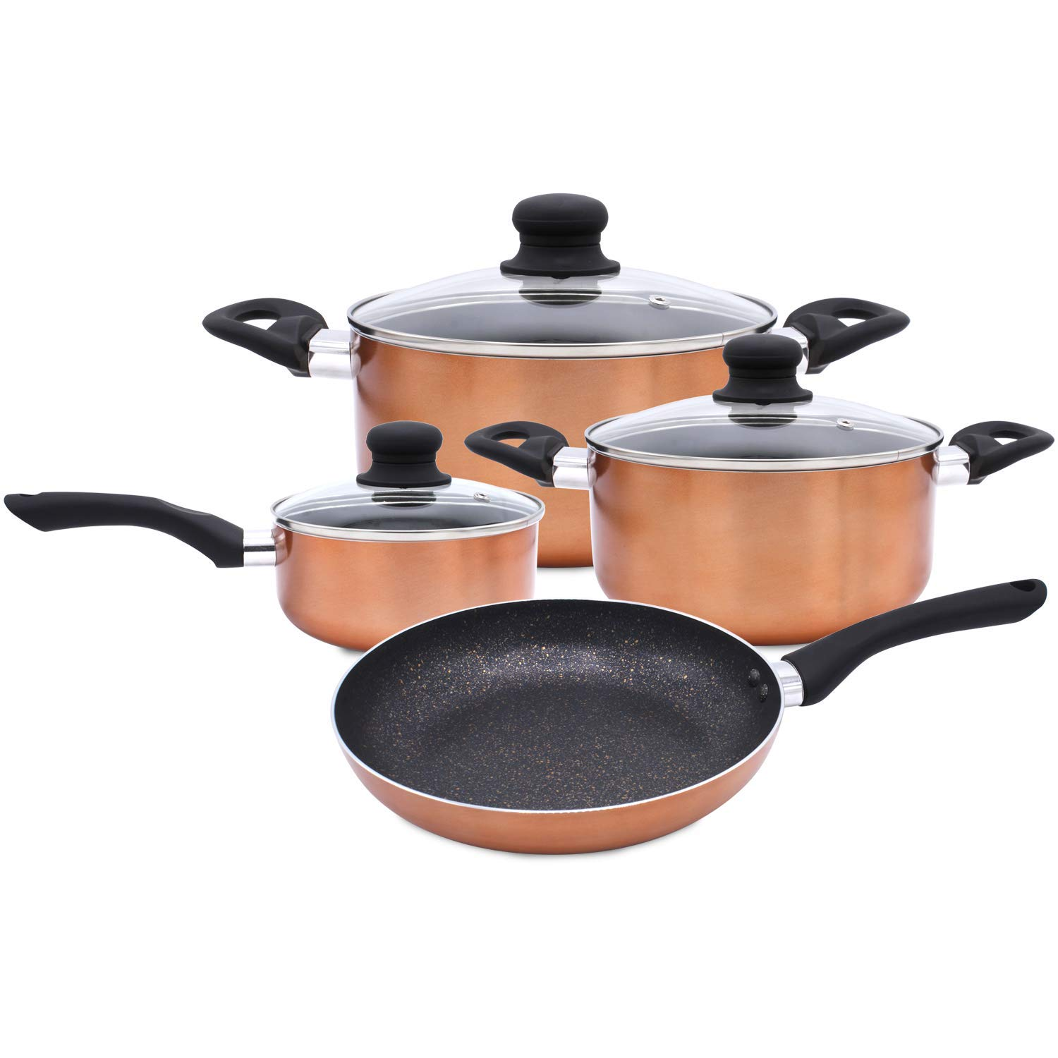 Bergner 7 Pc Cookware Set Marble Coating Induction Cooking Nonstick Saucepan Frypan Cerole Pots And Pans