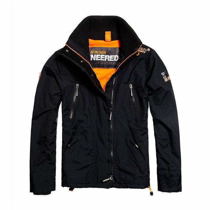 美國百分百【Superdry】極度乾燥 Attacker 風衣 立領 外套 防風 夾克 刷毛 黑 橘 S M號 I805