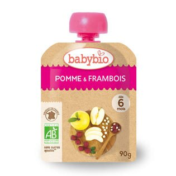 法國倍優Babybio有機蘋果覆盆莓纖果泥6m+