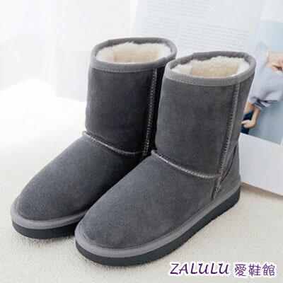 ☼zalulu愛鞋館☼ JB127 現貨出清 熱款真皮雪靴 牛絨16.5cm中筒厚底羊毛雪靴
