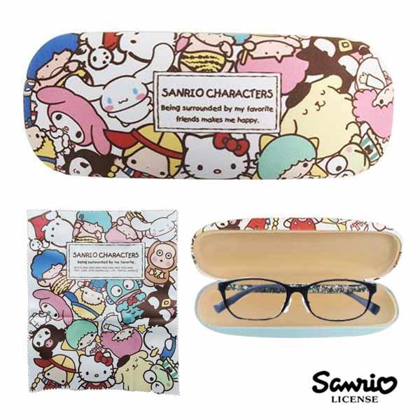 【日本進口】三麗鷗人物 硬殼 眼鏡盒 附擦拭布 凱蒂貓 美樂蒂 大耳狗 酷企鵝 雙子星 Sanrio - 825181