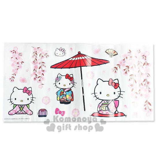〔小禮堂〕Hello Kitty 創意壁貼《和服.花.陽傘》隨心創造夢幻空間.透明塑膠裝