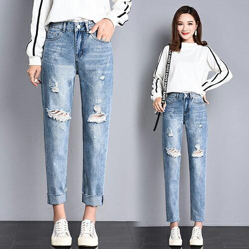 高腰破洞牛仔褲(4色S~2XL) 【OREAD】 1