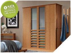 【YUDA】中式 禪風 竹悅傢居 純竹 耐重 抗潮濕 竹製家具T-W101-3  5尺三門衣櫃/衣櫥