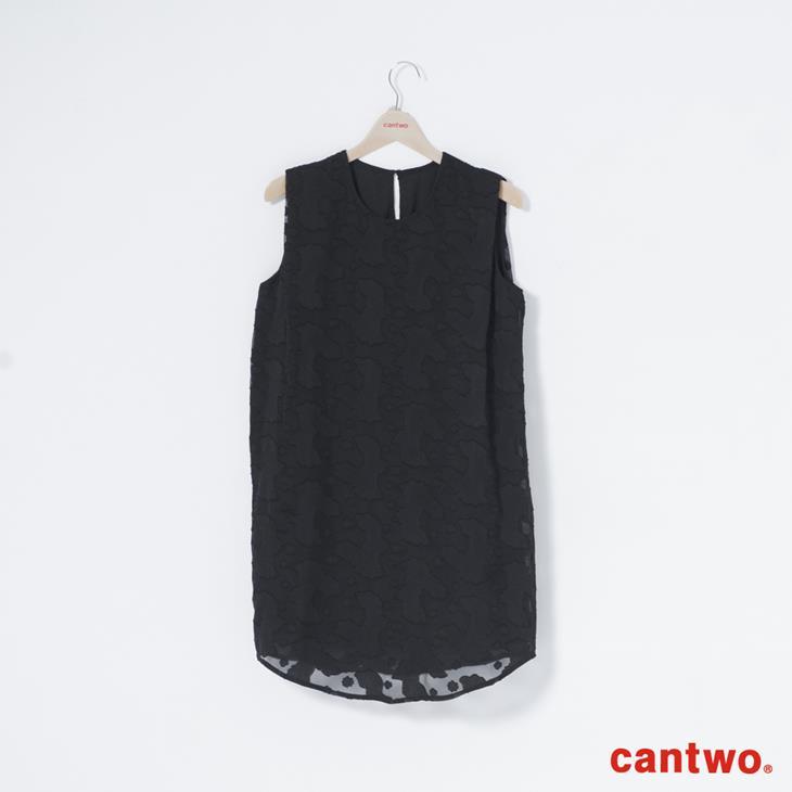 cantwo氣質剪花雪紡洋裝(共二色) 6