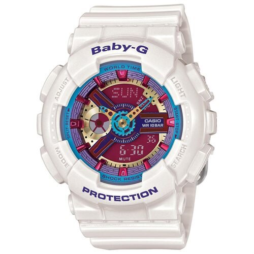 White Casio Baby-G Analog Digital Multi-Color Face Watch BA112-7A 0