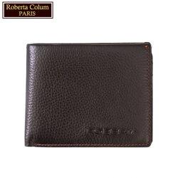 【Roberta Colum】諾貝達 男用皮夾 短夾 專櫃皮夾 進口軟牛皮短夾(咖啡色24004)【威奇包仔通】