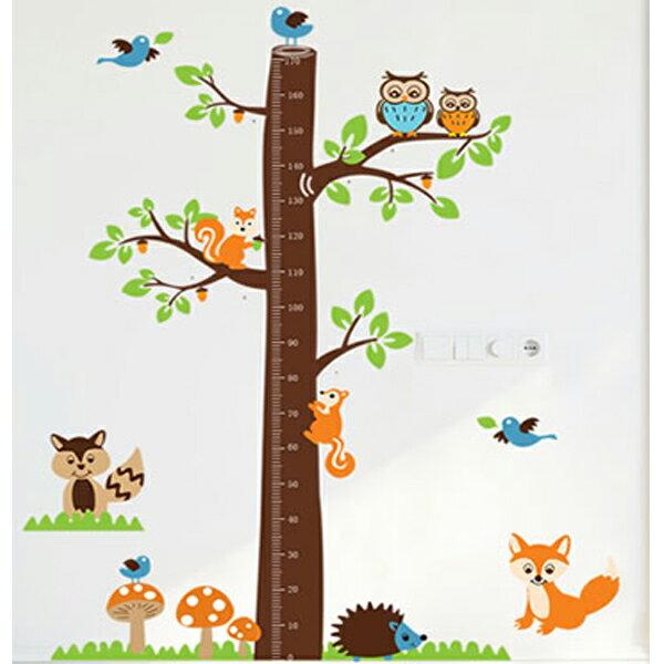 BO雜貨【YV0562-1】創意可重覆貼壁貼室內佈置幼兒園兒童房貓頭鷹松鼠動物樹木身高貼AY221