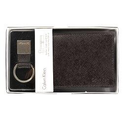 美國百分百【全新真品】Calvin Klein 皮夾 CK 短夾 二折 皮革 鑰匙圈 鈔票夾 專櫃 男款 咖啡色 E539