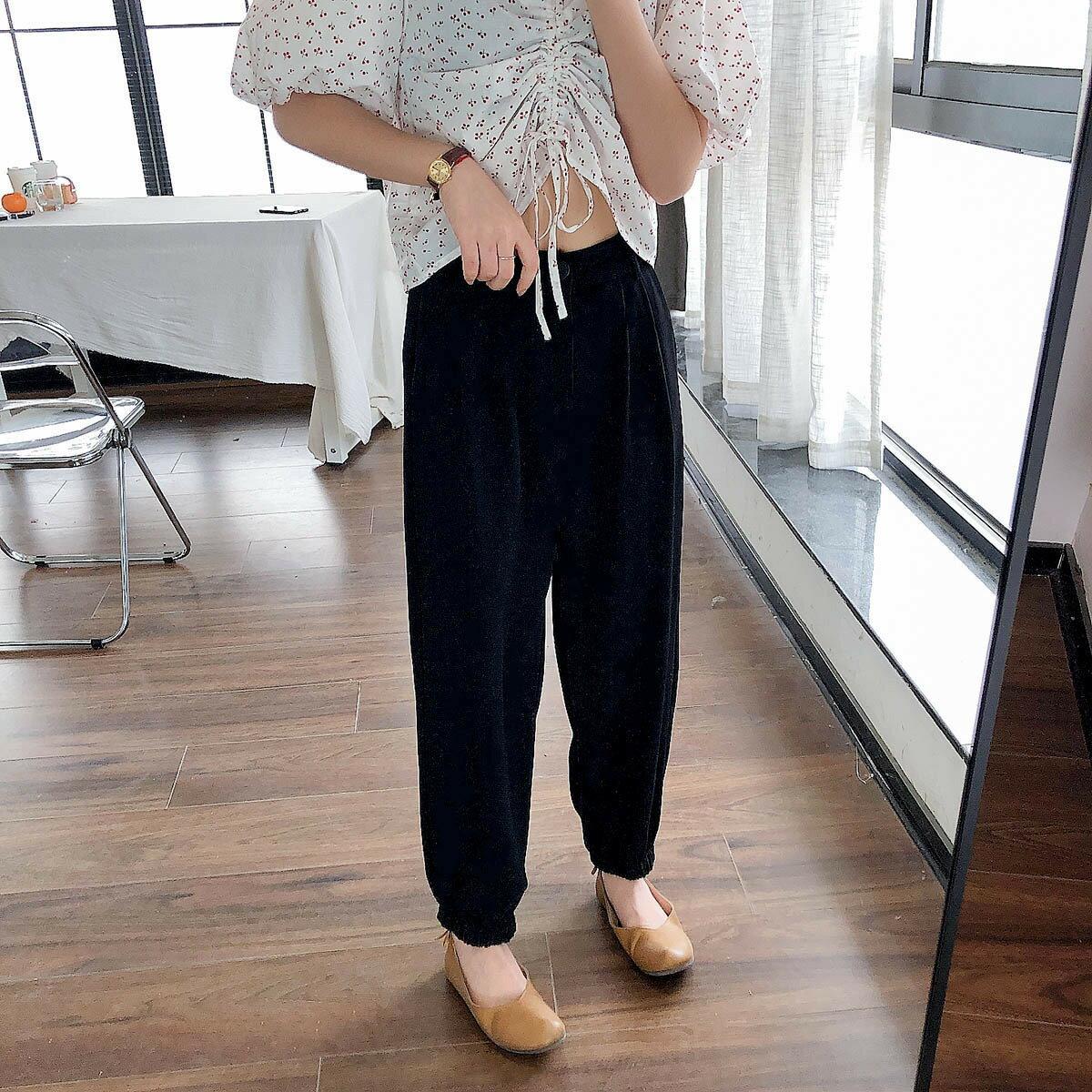 西裝哈倫褲女夏季高腰顯瘦束腳黑色學生時尚休閒褲子