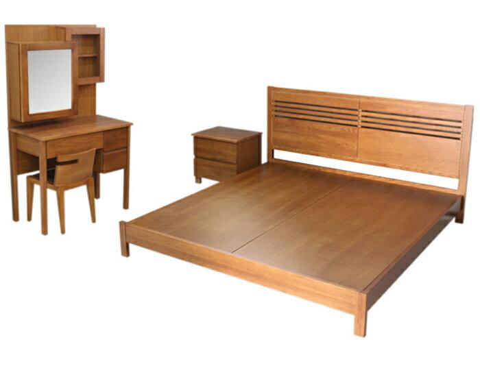 【尚品傢俱】400-07 尼歐 栓木5尺床組 (5尺床台+床頭櫃*2+鏡台(含椅)+4尺衣櫃) 居家房間床組