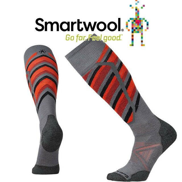 <br/><br/>  Smartwool羊毛襪/雪襪/排汗襪/保暖襪/美麗諾羊毛/ PhD滑雪中級減震印花高筒襪 SW015036 018石墨灰<br/><br/>