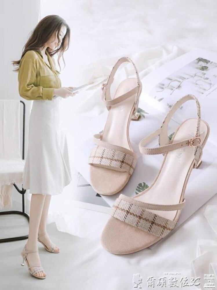 涼鞋新款女夏小清新女式高跟鞋少女細跟貓跟女鞋格子百搭鞋子 清涼一夏特價