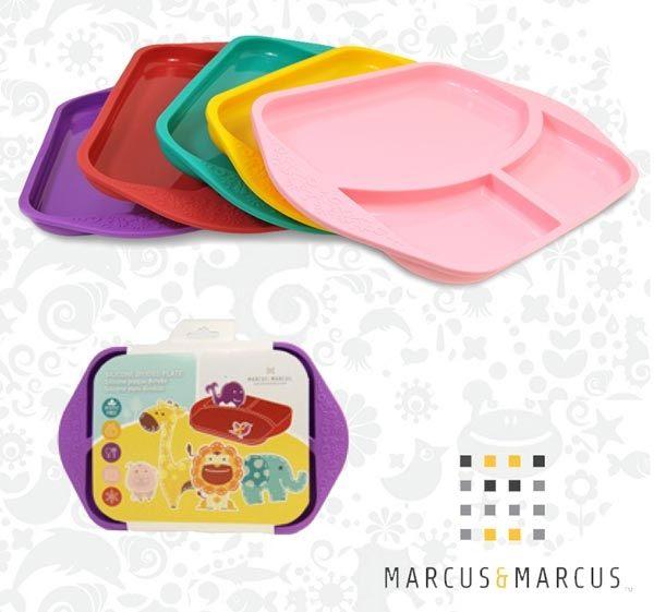 加拿大MARCUS&MARCUS動物樂園矽膠兒童餐盤(鯨魚紫/獅子紅/長頸鹿黃/大象綠/粉紅豬)【寶貝樂園】