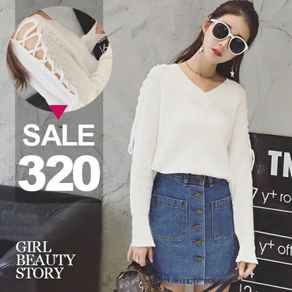 SISI【L7036】韓版V領顯瘦寬鬆鏤空綁帶長袖前短後長薄款針織衫上衣