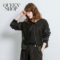 外套推薦到Queen Shop【02070897】網格拼接飛行外套 兩色售*預購*