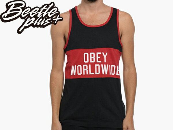 BEETLE 美國品牌 OBEY MARATHON 貼布 WORLDWIDE 黑紅 黑白 BRED 背心 標語 TANK 134050031BLK OB-353 - 限時優惠好康折扣
