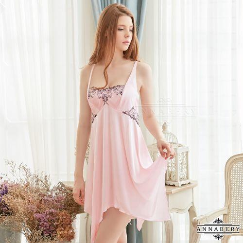 愛的蔓延大尺碼Annabery粉紅柔緞細肩帶交叉美背性感睡衣甜美睡衣NY18020075