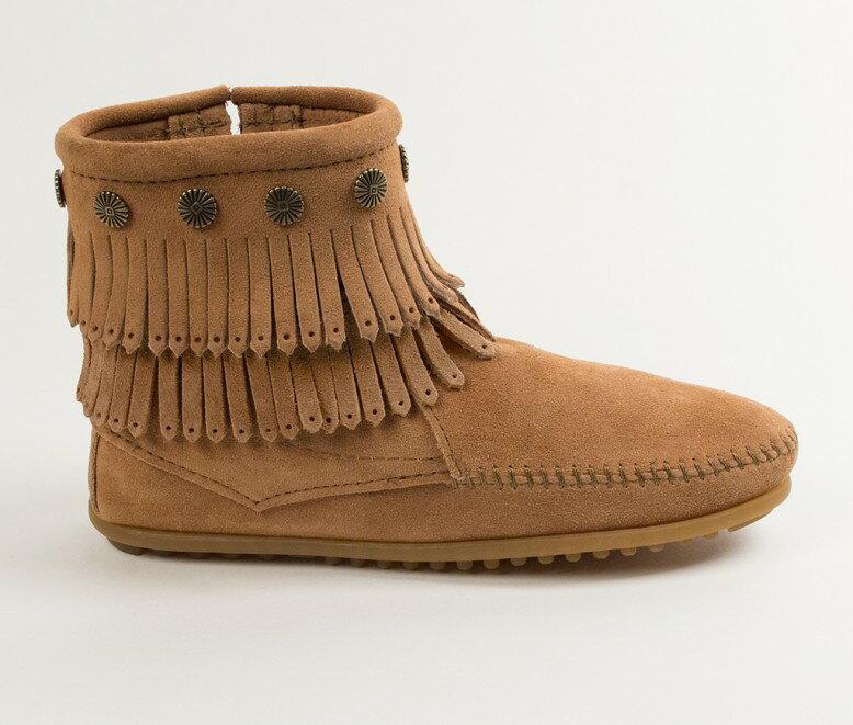 【Minnetonka 莫卡辛】土黃色 - 雙層麂皮流蘇踝靴 2
