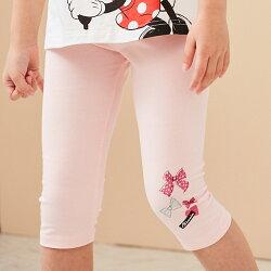 Disney 米妮系列甜心蝴蝶結彈力棉褲-粉紅