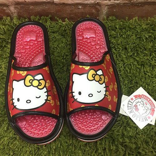 【真愛日本】厚底按摩拖917180-紅22.5~24.5 三麗鷗 Hello Kitty 凱蒂貓 勃肯 拖鞋 外出鞋 鞋子正品