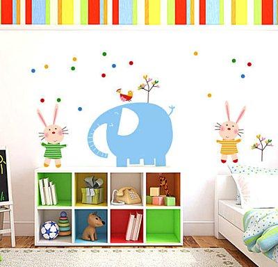 BO雜貨【YP1827】創意可移動壁貼 牆貼 背景貼 磁磚貼 兒童房佈置設計壁貼 大象小兔