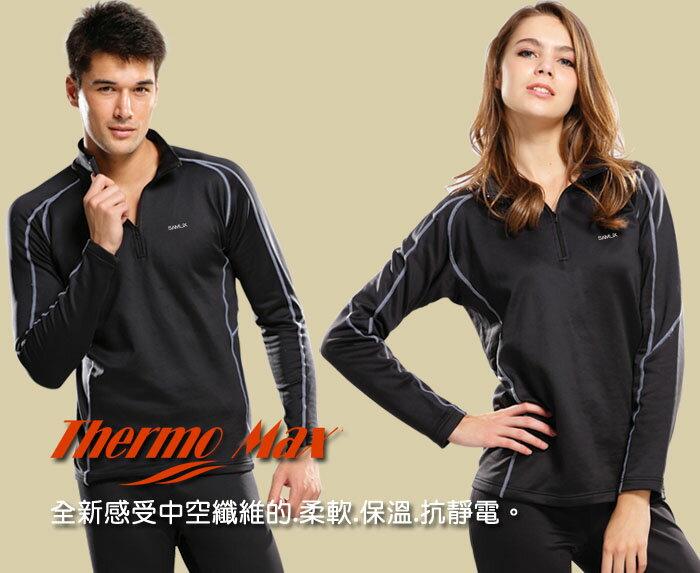 【SAMLIX 山力士】男女 中性 MIT 機能發熱 吸濕排汗 彈性 保暖衣 Thermo Max (#307 黑) 2