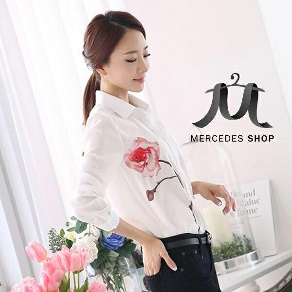 [現貨出清6折] 韓國修身印花雪紡長袖襯衫 - 梅西蒂絲