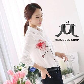 梅西蒂絲-韓國修身印花雪紡長袖襯衫