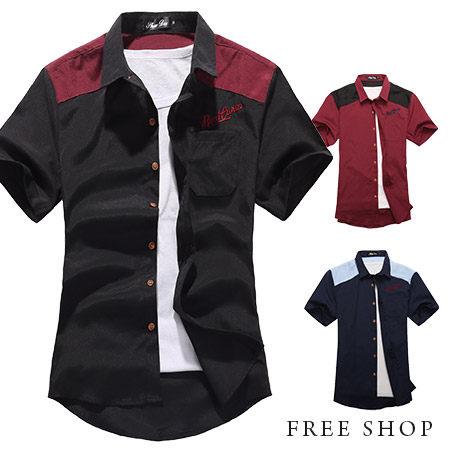《全店399免運》Free Shop【QR20270】 拼布電繡 西海岸潮流工作襯衫短袖襯衫‧三色