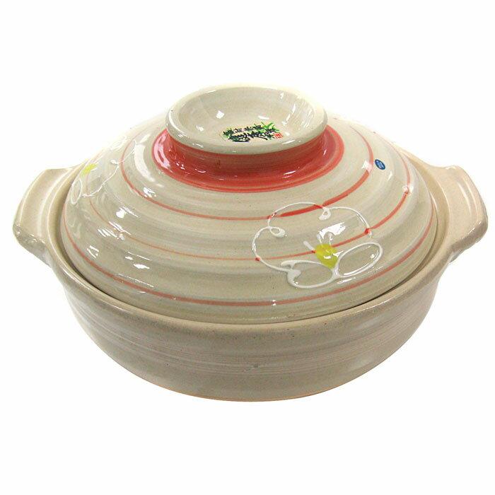 萬古燒砂鍋-白梅8號深鍋24cm(4~5人份) #400643 日本製