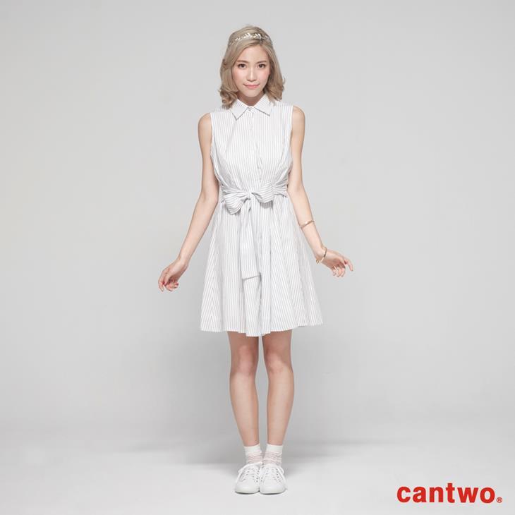 cantow襯衫領無袖洋裝(共三色) 0
