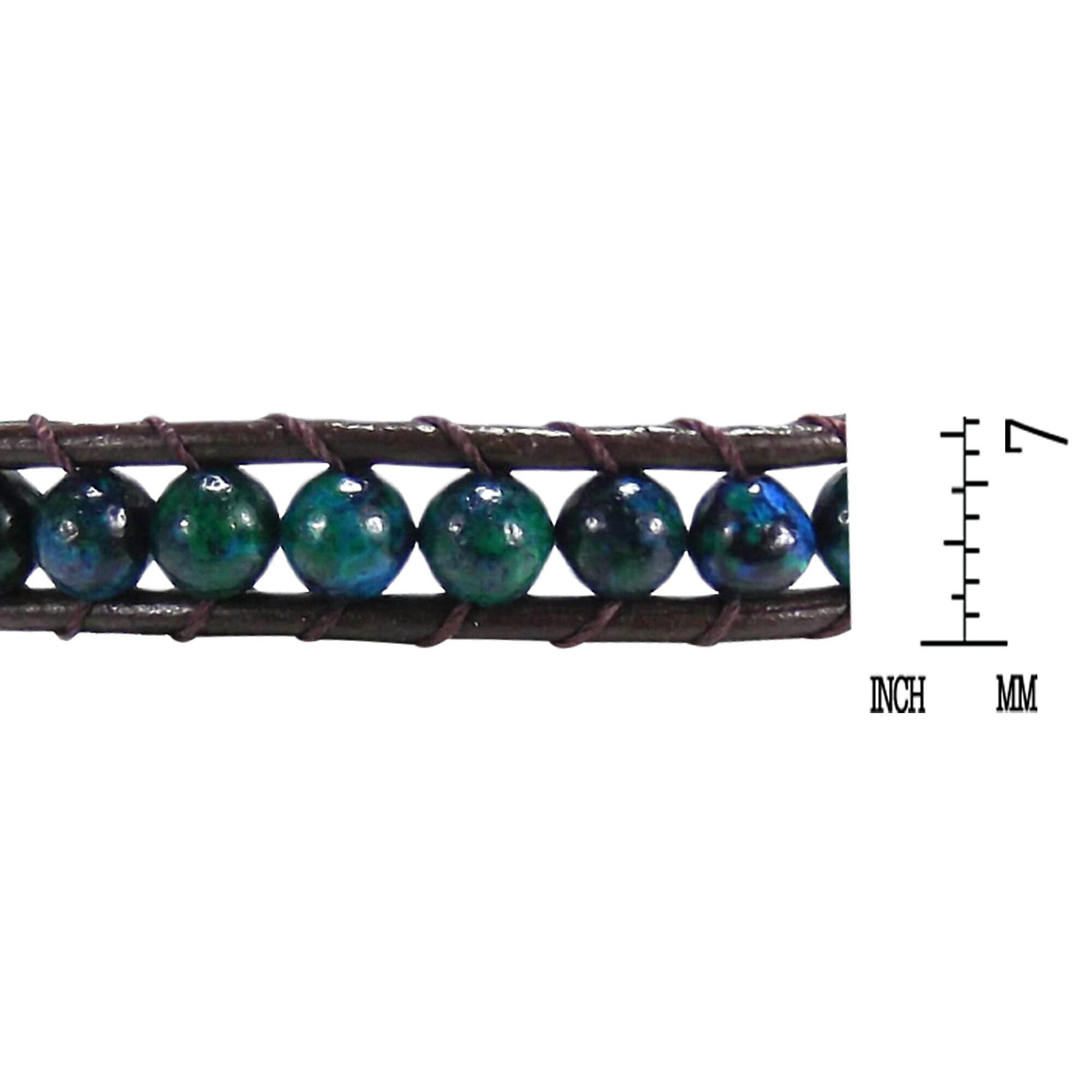 Blue-Green Muse Malachite Gemstone Tribal Wrap Leather Bracelet (Thailand) 3
