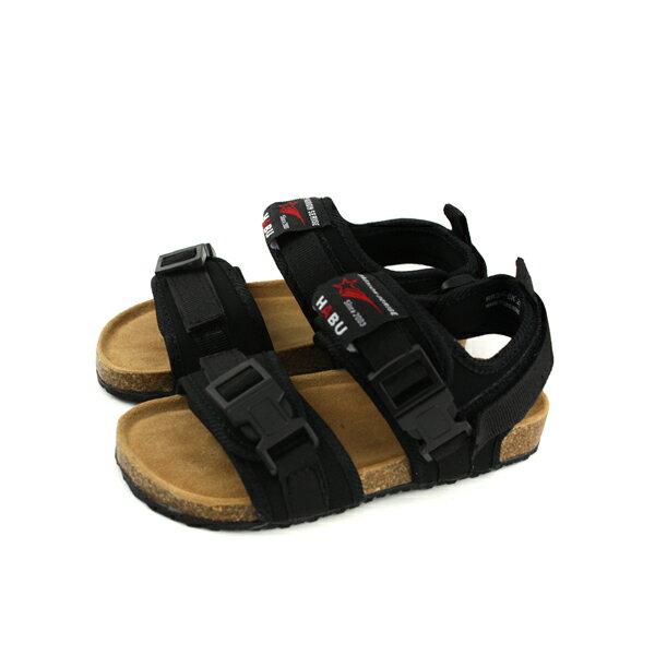 小男生鞋涼鞋魔鬼氈黑色童鞋RR34B-BKno007