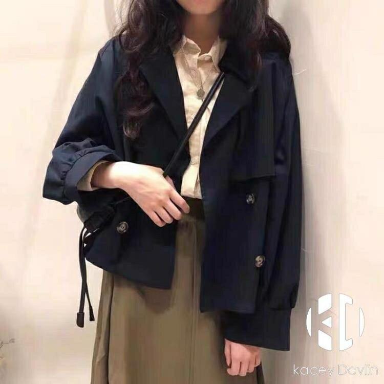 復古短款風衣女寬鬆氣質外套