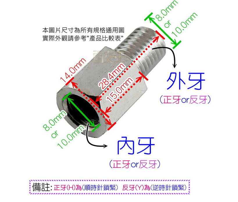 【尋寶趣】外牙10mm反  /  內牙08mm正 加高螺絲 轉換螺絲 後照鏡 轉接螺絲 延伸座 RAM-LM10Y-08H 1