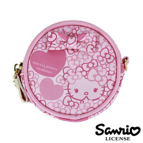 5335【日本進口正版】Hello Kitty 凱蒂貓 三麗鷗 人物系列 圓型 皮質 零錢包 SANRIO - 123695