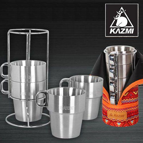 ├登山樂┤韓國KAZMI不鏽鋼雙層馬克杯4入組-紅#K3T3K044RD