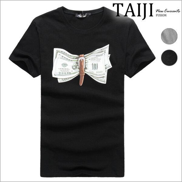 潮流短T‧綁帶美金鈔票印花棉質圓領短T‧二色【ND35282】-TAIJI-