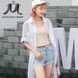 梅西蒂絲 -素色長板襯衫防曬衫-M-XL