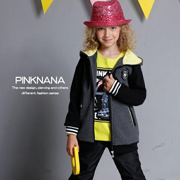 PINKNANA童裝-深灰運動風連帽刷毛外套32198