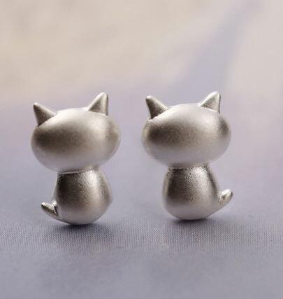 Tokyo Alice 925純銀小肥貓耳環,純銀飾品首飾耳飾貼耳針飾品 se000002