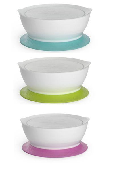美國製Cali bowl CaliBowl 專利防漏防滑幼兒學習碗吸盤款12oz 附蓋→藍色←