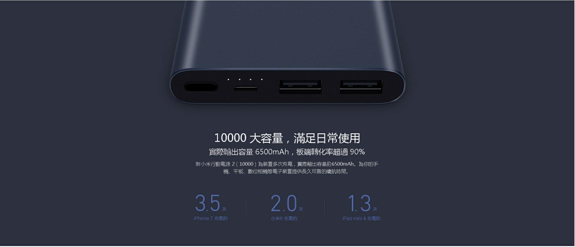 最新版 小米 行動電源 第2代 雙輸出 台灣官方代購 10000mAh 雙向快充 鋰聚合物電芯 鋁合金金屬外殼 正版 7