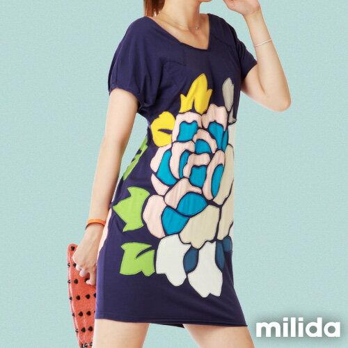【Milida,全店七折免運】-夏季商品-拼貼款-氣質花卉洋裝 2