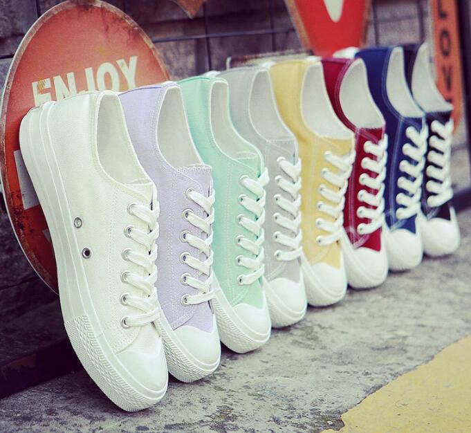 帆布鞋 休閒女鞋女學生輕便系鞋帶單鞋一腳蹬