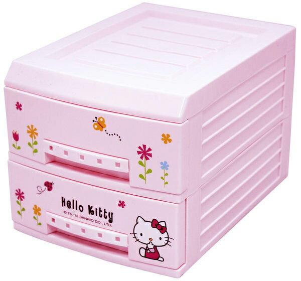 KITTY 二層塑料收納盒