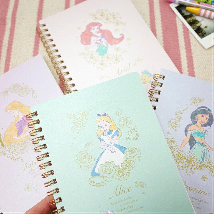 PGS7 迪士尼系列商品 - 迪士尼 公主 花朵 系列 線圈 筆記本 愛麗兒 愛麗絲 茉莉 樂佩【SHA7155】